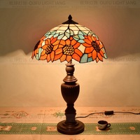 40CM Tiffany sunflower Table Lamp Country Style Stained Glass Lamp for Bedroom Bedside Lamp E27 110 240V