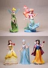 ديزني الأميرة ارييل بيل سنو وايت تينكر بيل 2 نمط 5 قطعة/المجموعة عمل الشكل أنيمي جمع صغير تمثال لعبة نموذج هدية