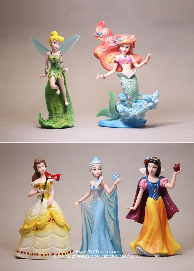 Disney Princess Ariel Belle Snow White Tinker Bell 2 Style 5pcs/set Action Figure Anime Mini Collection Figurine Toy Model Gift