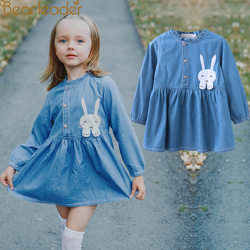 Bear Leader Girls Dress 2018 New Autumn Casual Style Girls Denim Dresses Long Sleeve Rabbit Patch Design For Children Clothing bear leader girls dress new autumn england style princess dresses petal sleeve design plaid printing for children clothing