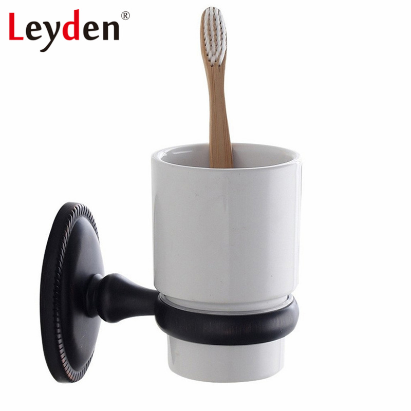 Leyden Brass Oil Rubbed Bronze Round Base Toothbrush Tumbler Holder Wall Mounted Toothbrush Holder with Cup Bathroom Accessories