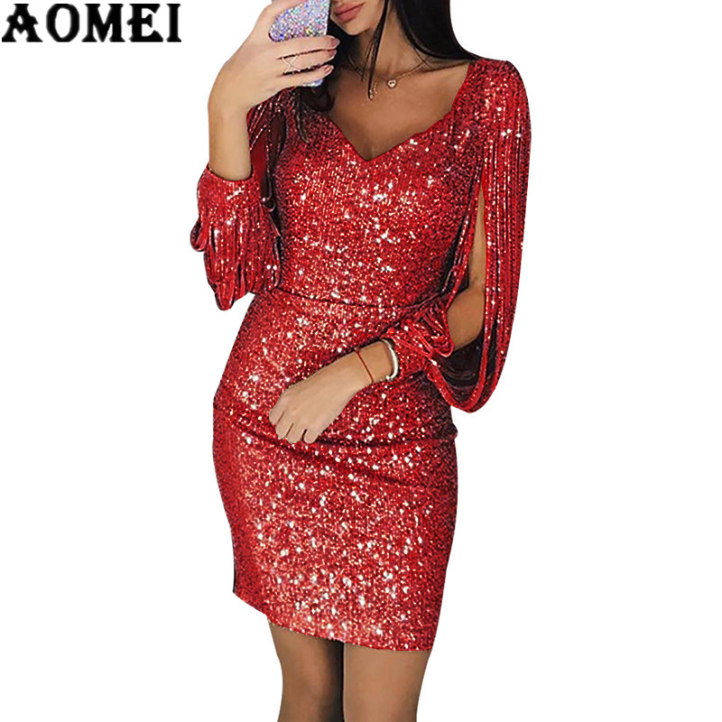 2019 Women Long Sleeve Shiny Sequin Dress Elegant Sexy