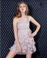 Rosa Cinta Vestido de Cocktail Curto de Um Ombro Beadwork 2017 Camada Mini Party Girl Chiffon Vestido de Design de Moda do Regresso A Casa Do Vestido