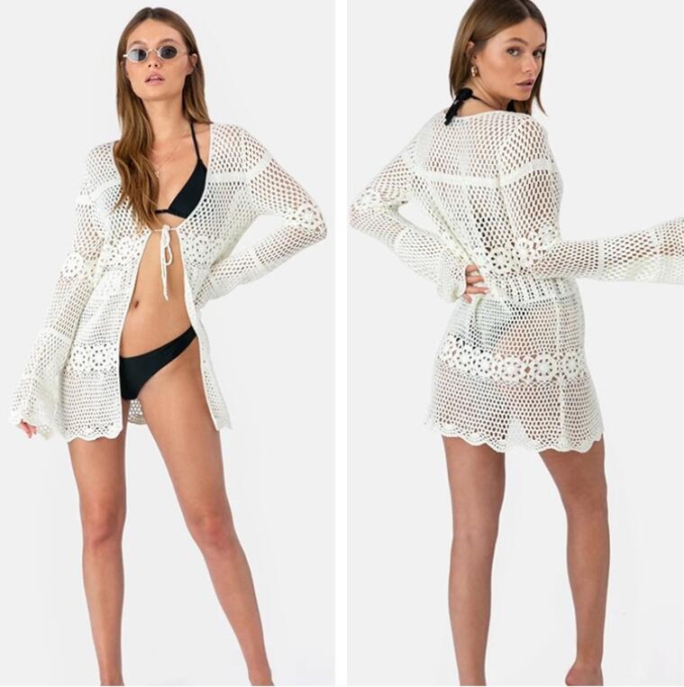 2019 nouveau été femmes Bikini couvrir creux Crochet maillot de bain couvre-ups maillot de bain maillot de bain tunique plage robe chaude