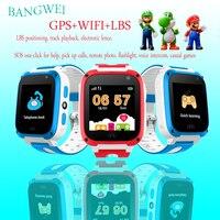 2019 BANGWEI Q50 Anti Kayıp OLED Çocuk GPS Tracker SOS Akıllı Izleme GPS Konumlandırma Telefonu Çocuklar GPS Bebek Izle Uyumlu IOS