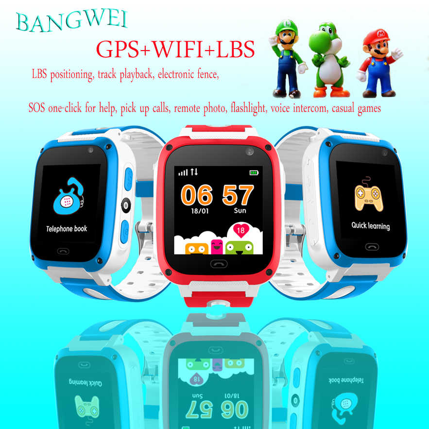 2019 BANGWEI Q50 Anti Lost OLED Child GPS Tracker SOS Smart Monitoring GPS Positioning Phone Kids GPS Baby Watch Compatible IOS