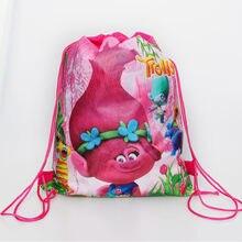 190bf37701d 1pc   lot bebé ducha Trolls decoración cordón tela no tejida Batman regalos  bolsas de fiesta de cumpleaños de mochila de niños f.