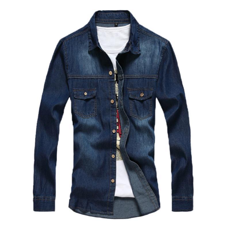 Men Classic Casual Denim Shirts Blue Tops Causal Shirt Slim All-match Coat Cotton Big Size Tops 2018 Autumn New Long Sleeve San0