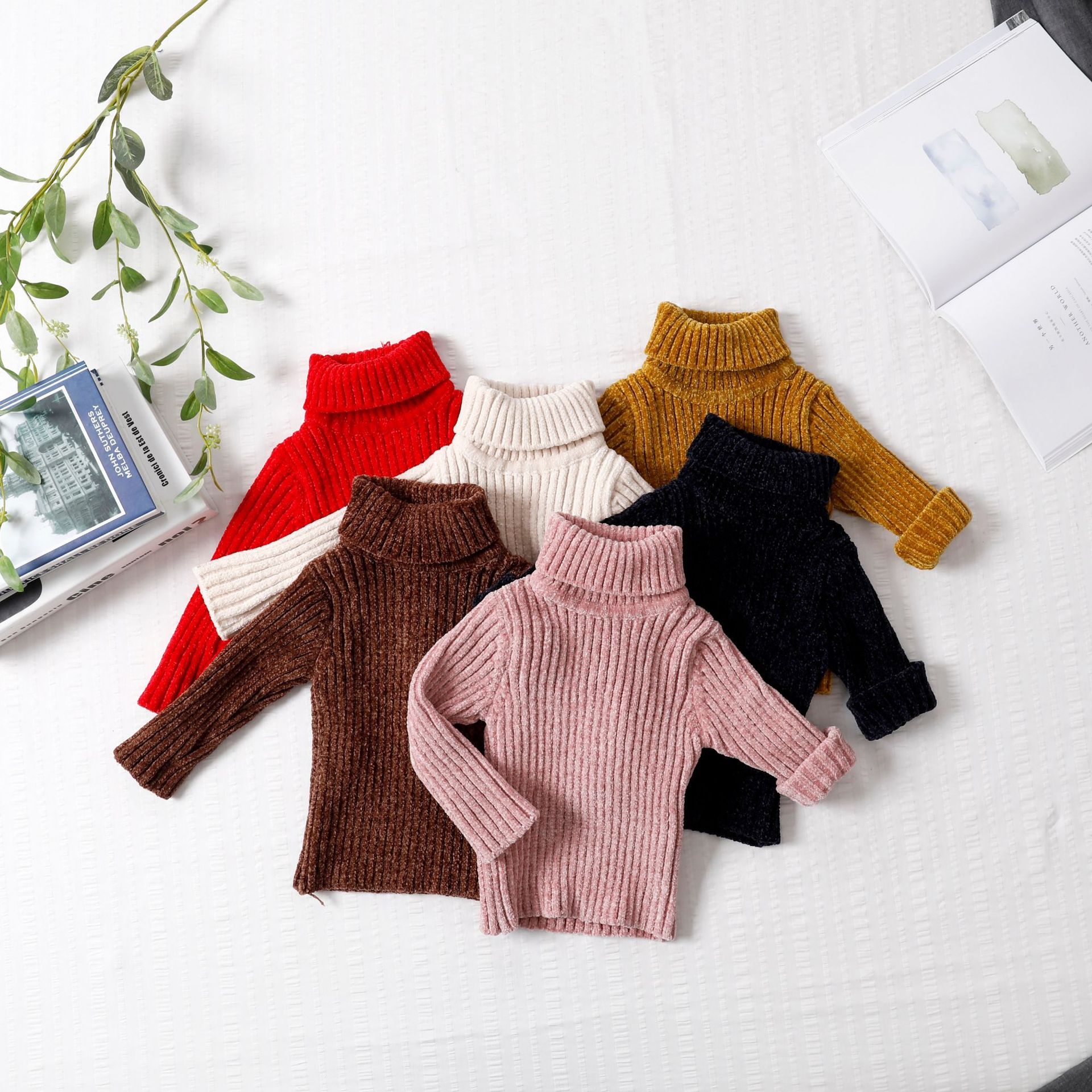 8bd6a374a Baby Girls Solid Color Chenille Sweater Autumn Winter Cotton ...