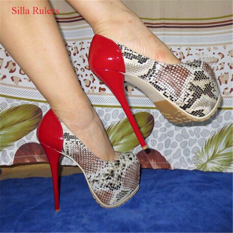16 см очень высокий каблук змеиной кожи Лоскутная Для женщин Насосы кожи с принтом женская обувь на платформе свадебные туфли женская обувь