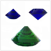 Dark Blue/Dark Green 150mm 1pcs Multifaceted Feng Shui Crystal Diamond Paperweight For Home Decoration Hot Sales