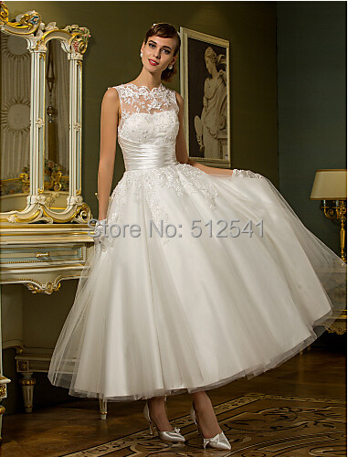 2015 new arrival scoop ankle length lace tulle a line bridal dress lovely appliqued little