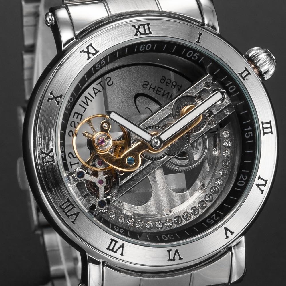 Shenhua Hollow Transparent Automatic Watches Stainless Steel Silver Self Winding Mens Mechanical Luminous Wrist Watch Men Clock цена 2017
