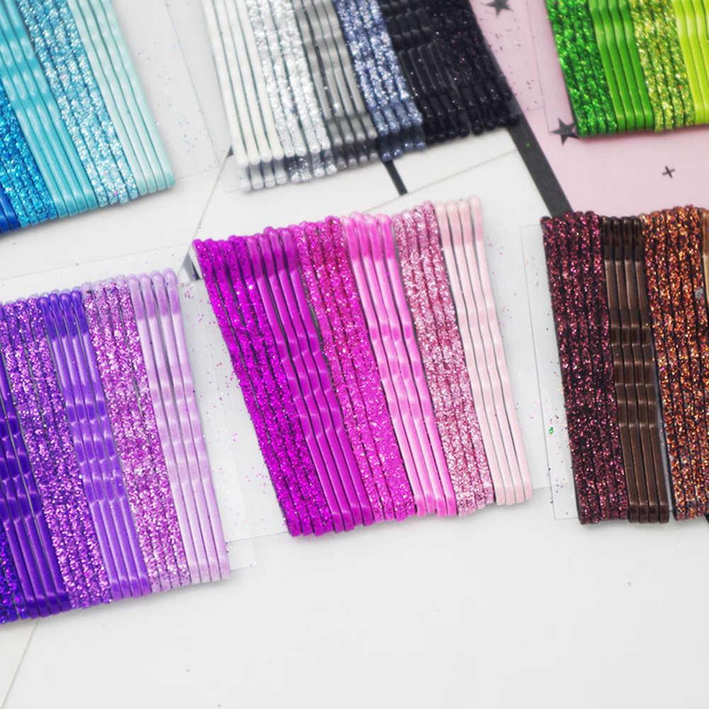 24 PCS/Set Glitter Permen Warna Rambut Klip Jepit 5CM Bergelombang Keriting Paduan Jepit Rambut Wanita Gadis Mengkilap Jepit Rambut aksesoris