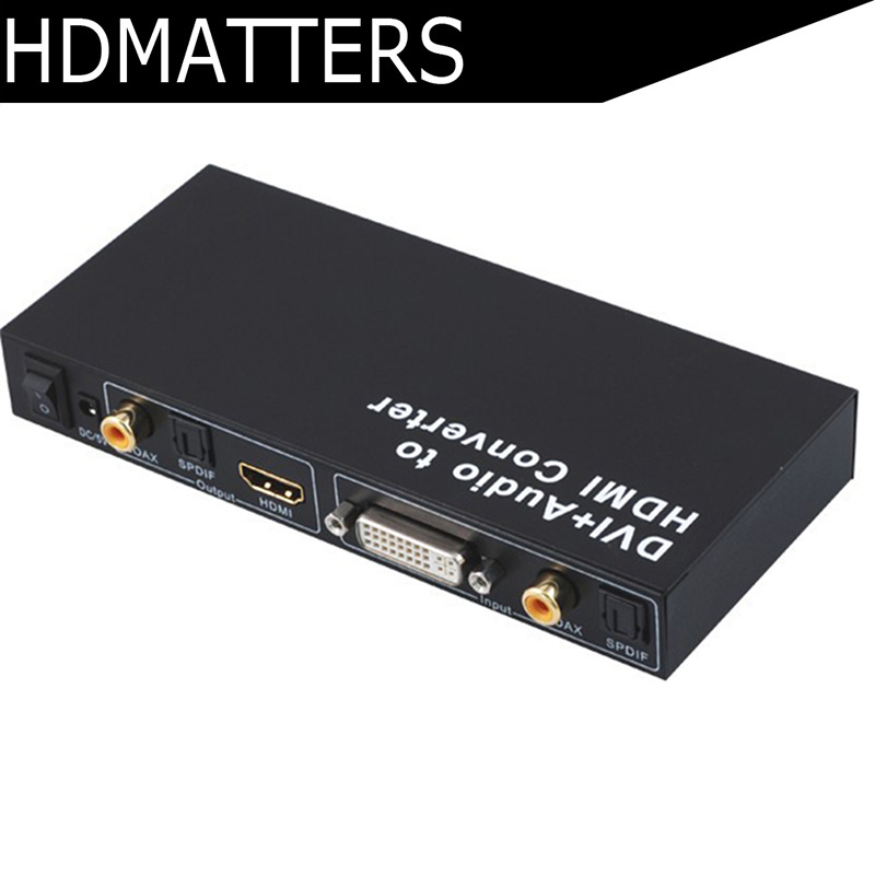 Convertisseur actif DVI vers HDMI avec Audio Coaxial Spdif/toslink DVI famale vers HDMI femelle jusqu'à 1080 p/1920x1200 pris en charge