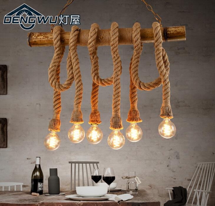 American Industrial Vintage Loft Style Hemp Rope Iron Chain Pendant Light Restaurant Cafe Decoration Retro Light Free Shipping
