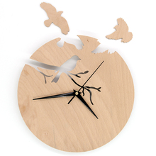 Carveman Birds Wooden Wall Clock Design 3D Plywood Wall Clock for Nursery Bedroom Decoration Unique Art Clock  HWC019