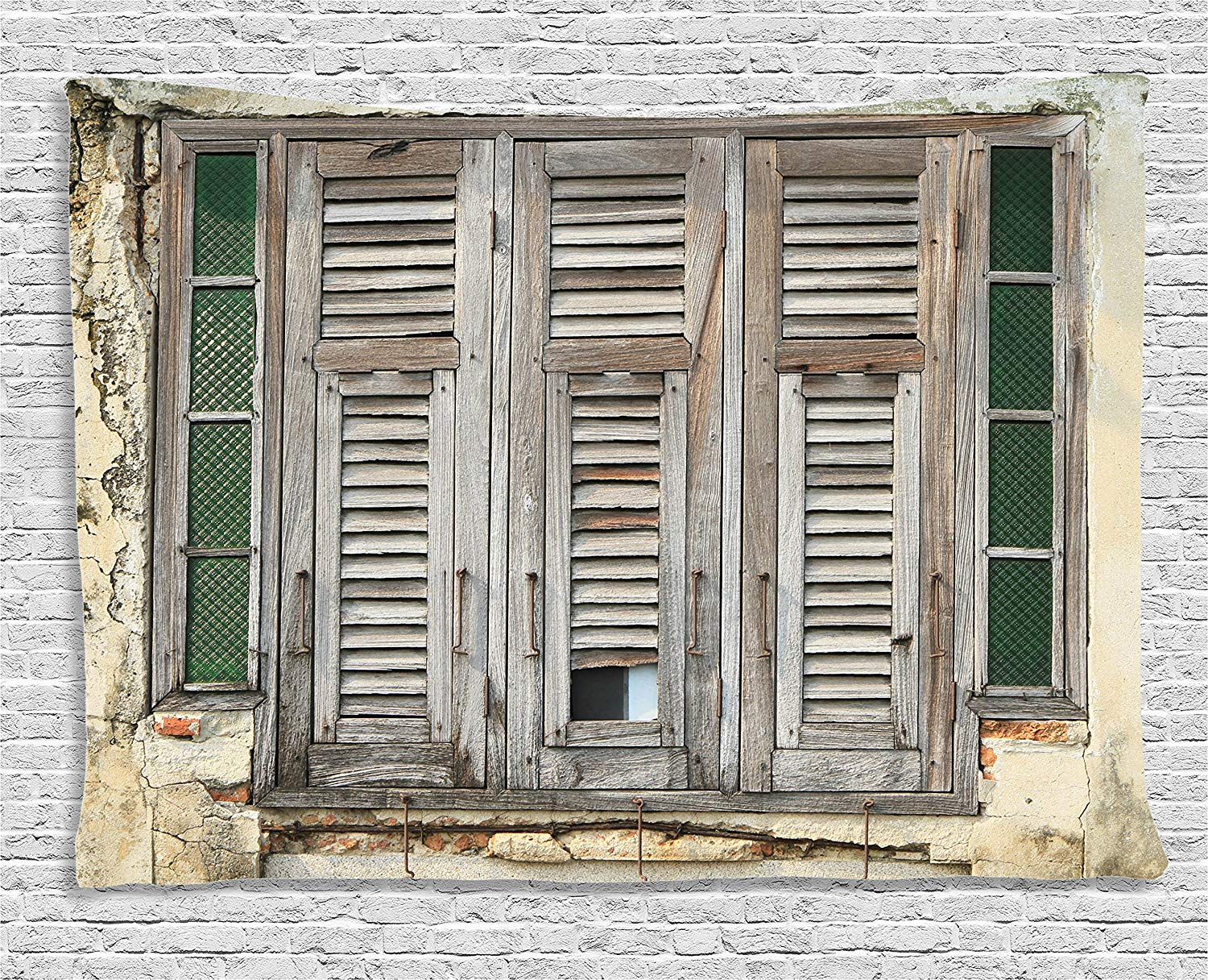 Us 17 97 42 Off Shutters Decor Aged Weathered Wooden Window Blinds Rough Cracked Wall Vintage Home Decoration Bedroom Dorm Wall Hanging Tapestry In
