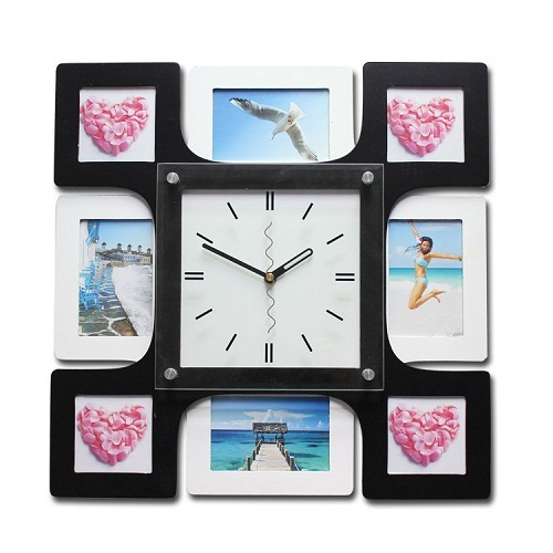 gz048 HOT 1pcs Fashion Mute European Artistic Luxury Rural Contracted Sitting Room Personality Photo Frame Wall Clock home decor