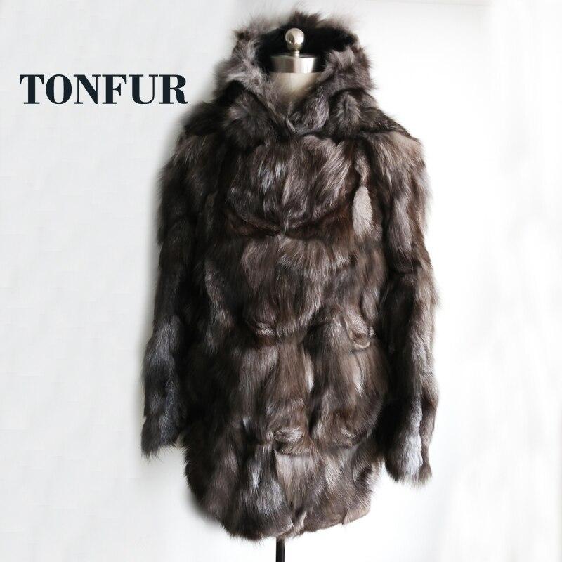 2019 usine Direct X Long réel véritable manteau de fourrure de renard naturel grande taille épais chaud hiver pardessus chaud Discount SR133