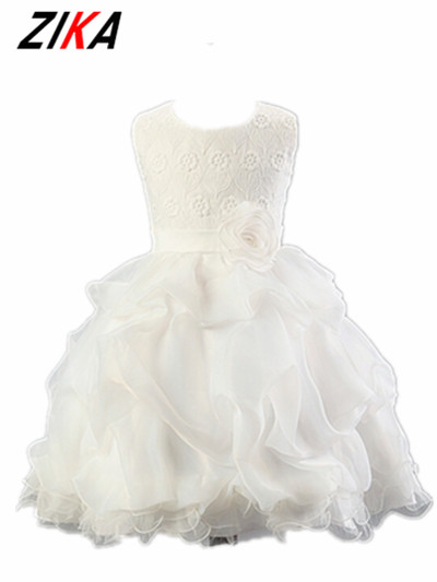 ZIKA New Princess Flower Girl Dresses For Wedding Party Brand Rose Lace Tutus Little Baby Girls Pageant Dress Kids Evening Gown new fashion embroidery flower big girls princess dress summer kids dresses for wedding and party baby girl lace dress cute bow
