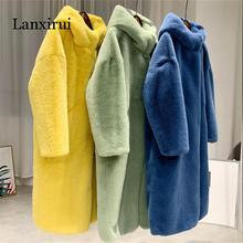 Осень зима норковая Женская Шуба одежда плюс размер корейский искусственный мех уличная одежда с капюшоном свободное толстое теплое длинное пальто для женщин