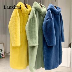Осень зима норковая Женская Шуба одежда плюс размер корейский искусственный мех уличная одежда с капюшоном свободное толстое теплое длинн...