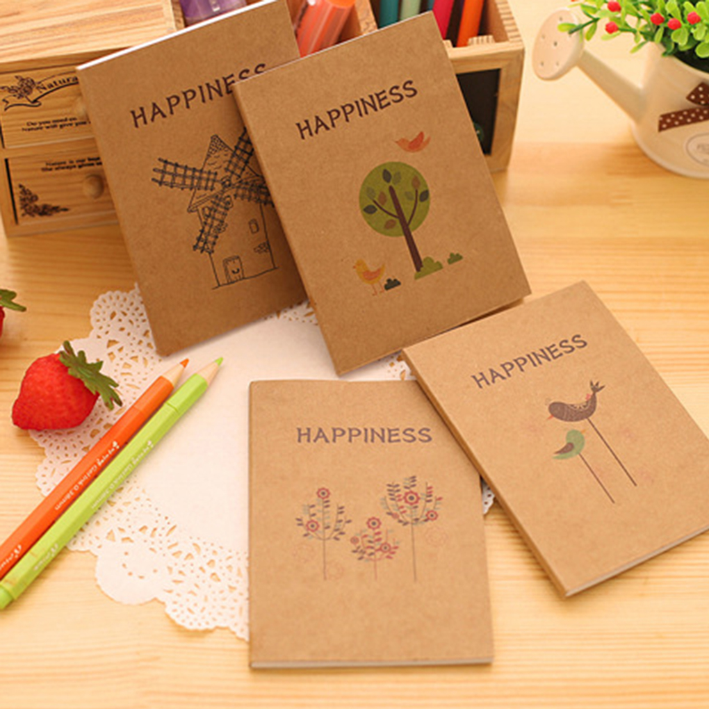 Mini Diy Cute Vintage Happiness Birds And Flower Kraft Notepad Blank Sketchbook Notebook Weekly Planners Diary Notebook