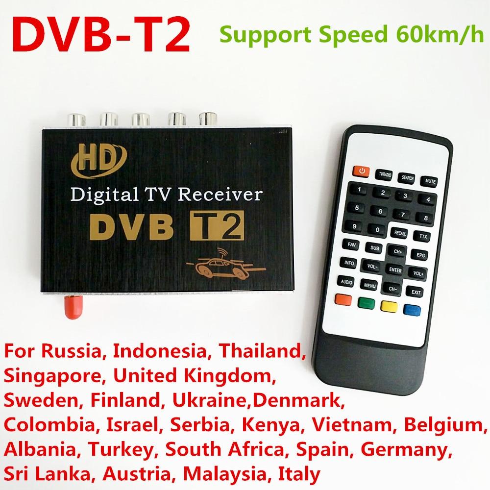 DVB-T2 H.264 MPEG-4 MPEG-2 Car Digital TV Receiver Box For Russia Thailand Ukraine Thailand Colombia Israel Support 40-60km/h tv034 dvb t mpeg 4 car digital tv receiver black