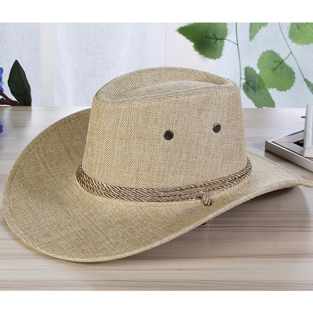 MISSKY Men Summer Sun Hats Solid Color Cool Western Cowboy Hat Outdoor Wide Brim Hat Male Accessory