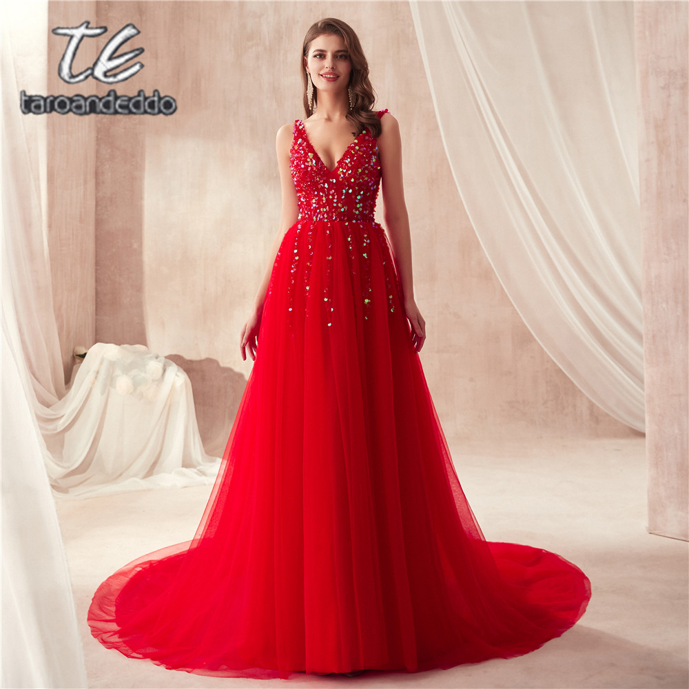 2019 A-line Sequins Beading   Prom     Dresses   V neck Sleeveless Evening Gown A-line Red Tulle Open Back   Prom   Gowns