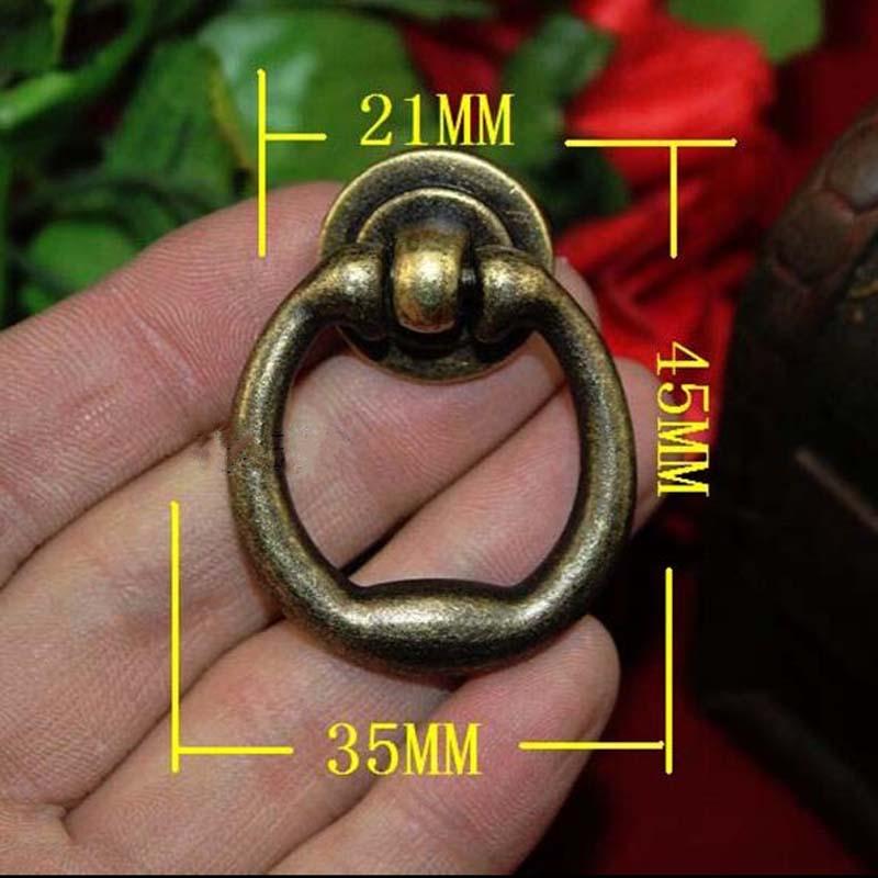 vintage distress shaky rings furniture door knob antique brass drawer cabinet dresser handles bronze Rings lotus