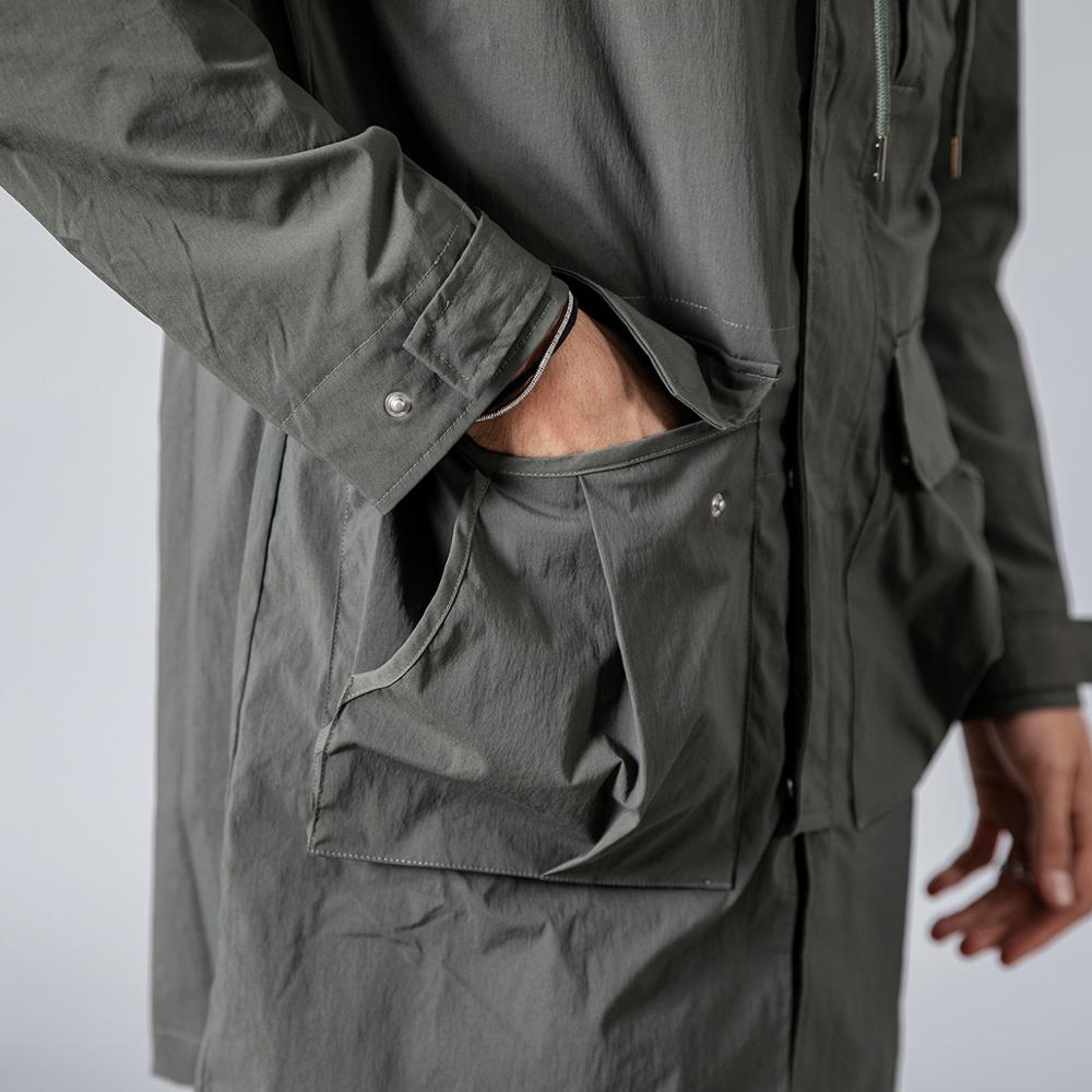 Slim Fit Pocket Hooded Trench Coats  3