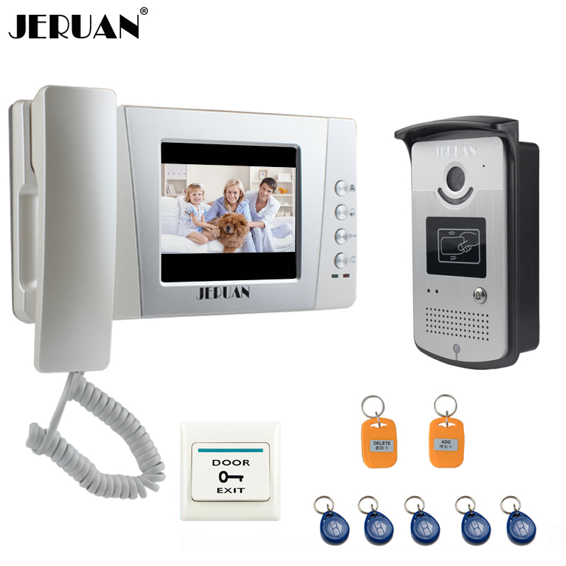 JERUAN Home 4.3`` TFT LCD Color Video Door Phone Bell Intercom System Kit with700TVL RFID Waterproof Camera FREE SHIPPING jeruan home 7 video door phone intercom system kit rfid waterproof touch key password keypad camera remote control in stock