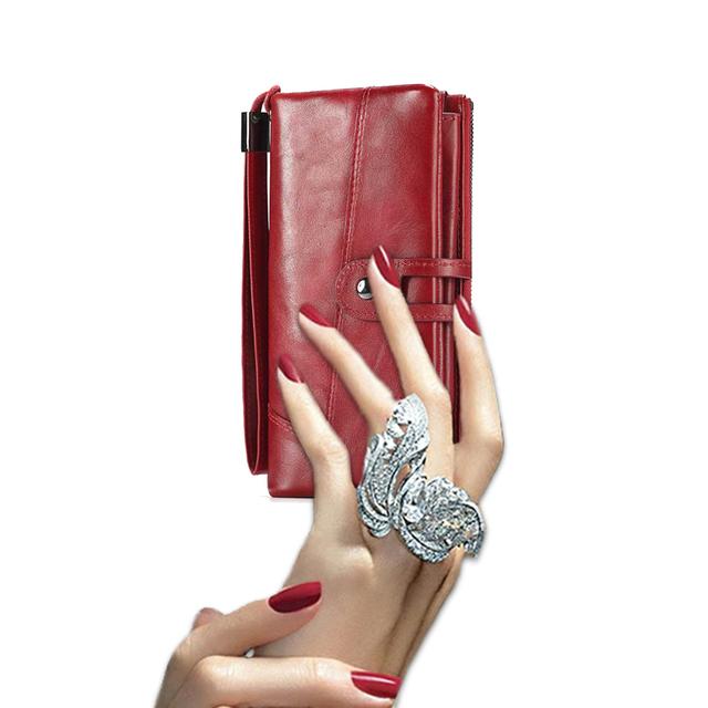 Cartera billetera de cuero mujer bolso monedero de cuero genuino rojo muñeca cartera bolsillo del teléfono celular titular de la tarjeta de la capacidad grande 2019