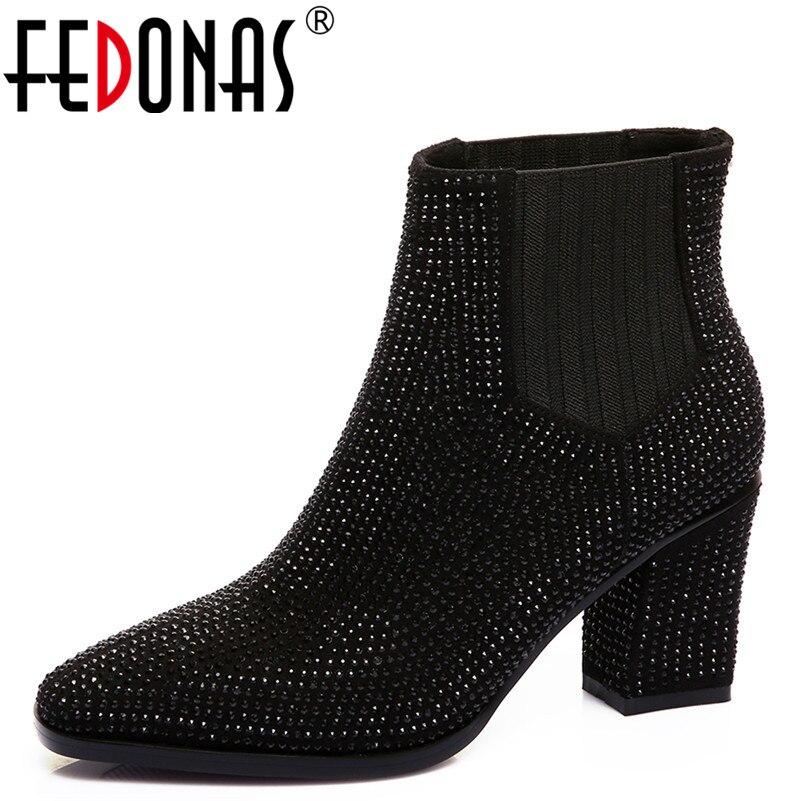 Fedonas Talons Femmes gris Sexy Bling Femme Bottes Hiver Carré 1new Cheville Daim Bout Party Chaud Danse Cuir Chaussures Noir Automne Haute En rFfr18x