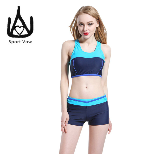 7e46e834209e2 Tankini Sports Swimsuits Junior Girls Swimsuit Racer Back Cropped Top Boxer  Briefs 2016 Conservative Bathing Suits Swim