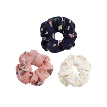 CHIMERA Vintage Flower Hair Scrunchies for Women Girls Elastic Bands Rubber Rope Ties Stretchy Chiffon Ponytail Holder