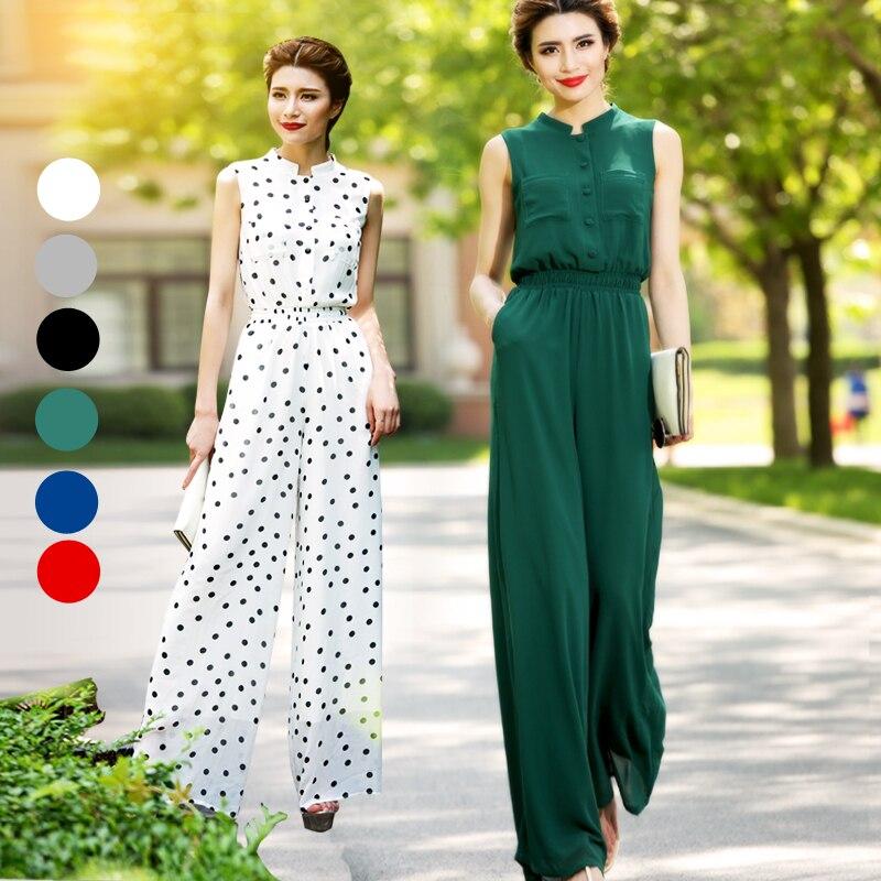 High Quality Summer Green Women Jumpsuit Elegant Chiffon High Street Full Length Rompers Plus Size 3XL 4XL