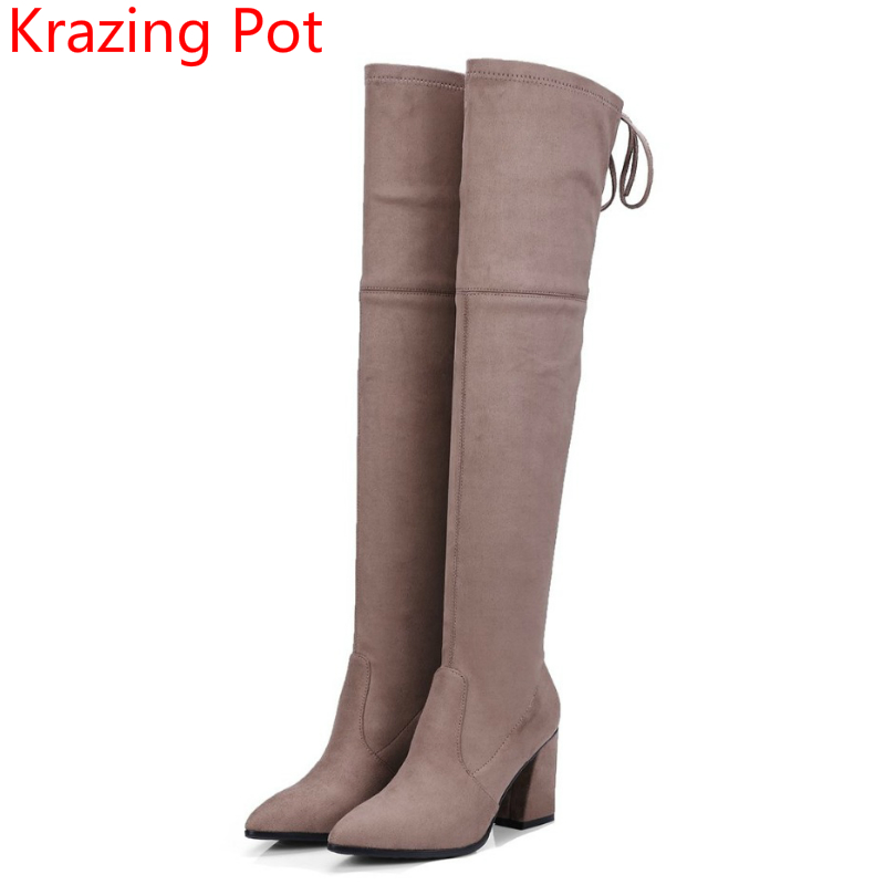 2018 New Arrival Sheep Suede Stretch Thigh High Boots Lace Up High Heels Classic Runway Bowtie Superstar Over-the-knee Boots L19 superstar flock stretch boots runway fashion winter shoes med heel thigh high boots lace up bowtie women over the knee boots l15