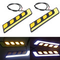 2pcs L Shape Daul Colors Car COB LED DRL Daytime Running Light Fog Light Driving White+Yellow Turn Signal Light Waterproof 12V