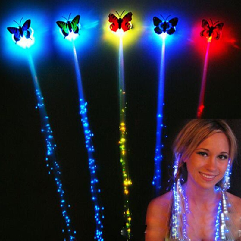 Gafas Led for party 100pcs/lot Led Luminous Flower led Hair Clip Light Up Butterfly Bar Party Decoration party Supplies Toy-in Glow Party Supplies from Home & Garden    2