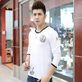 Package shipping 2017 European and American men's new fall fashion wild personality medal sleeved t-shirt for men