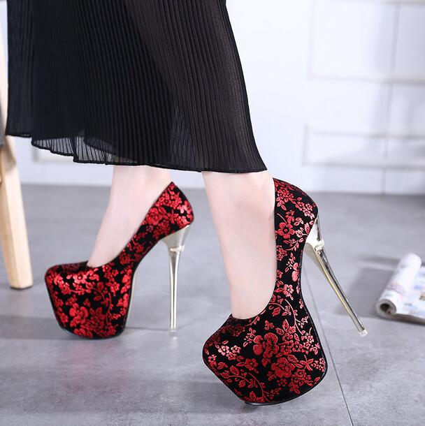 ФОТО 8-Freeshipping 2017 HOT 16cm Metal heel pumps extreme high HEELS platform women shoes Sexy fashion flower print slip on big size