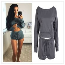 Women Casual Tracksuit Sets Lady Solid Color Shorts and Cropped Tops 2 Pieces Woman Cotton Clothes Outfits Dropshipping(China)