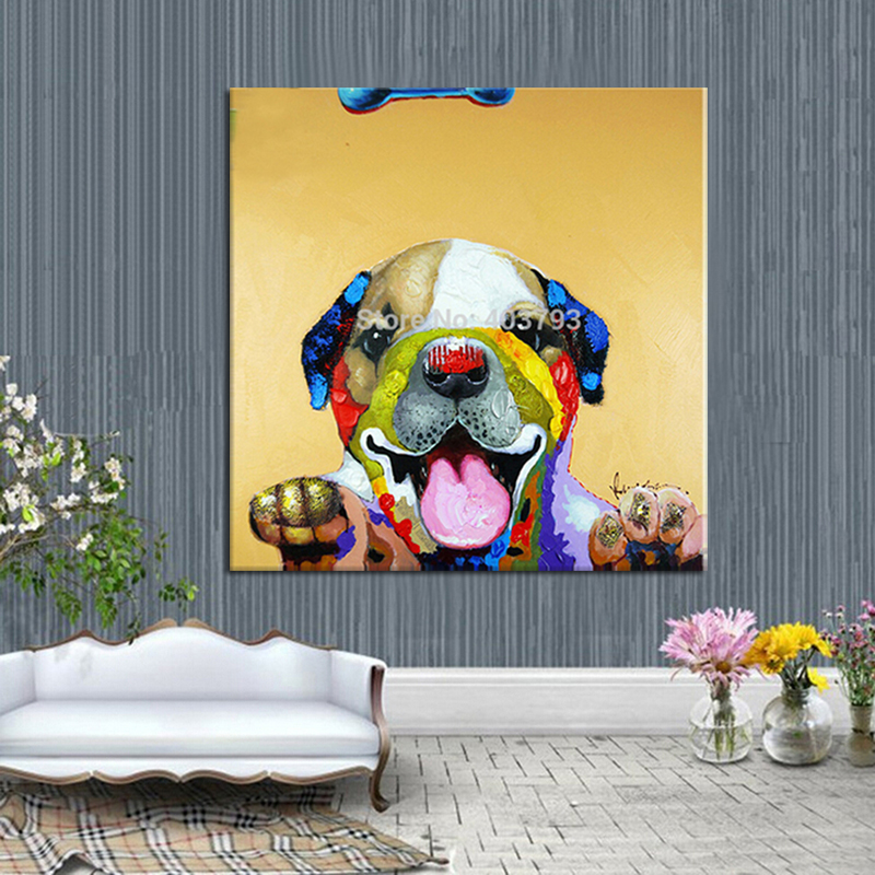 hand painted  MODERN ABSTRACT HUGE LARGE CANVAS ART OIL PAINTING lovely smiling dog paintings no framed