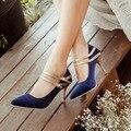 Сексуальная Острым Носом Тонкий Каблук женщины свадебная обувь твердые замши Мэри джейн высокие каблуки небольшой размер 30 31 32 33 большой размер 30-47