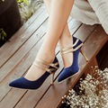 Sexy Pointed Toe Thin Heel women wedding shoes   solid suede Mary Janes high heels small size 30 31 32 33 large size 30-47