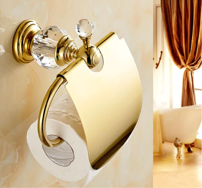 Paper Holders Crystal Solid Brass Gold/Chrome Paper Roll Holder Toilet Paper Holder Tissue Holder Restroom Bathroom Accessories meifuju vintage toilet paper holder with shelf wall mount bathroom accessories bronze paper holders antique brass roll holder
