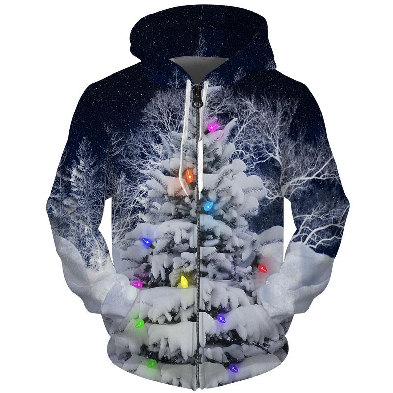 Cloudstyle Noël Nouvel An Veste à Capuche Zippé Hommes 3d Veste Arbre Couvert Neige Coloré Lampe Imprimé Survêtement 3d Sweat à Capuche